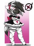 2015 anthro arnachy blush bow_knot breasts chibi cleavage clothed clothing ear_bow equine fan_character female hi_res mammal my_little_pony pyrite_(oc) ribbons solo standing stripes tsundere x zebra