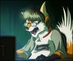 angry angry_german_kid anthro canine computer controller expression eyewear fox foxydude frustrated fur game_controller glasses keyboard_(computer) male mammal nes orange_fur reaction_image solo tigerbeacon