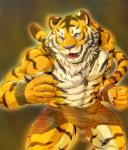 abs anthro biceps big_muscles chest_tuft claws clothed clothing feline fur half-dressed loincloth male mammal muscles necktie pecs solo tiger tuft wildheit wristband   Rating: Safe  Score: 2  User: Vallizo  Date: May 24, 2015