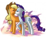 2012 abstract_background applejack_(mlp) blonde_hair blush couple cowboy_hat cutie_mark duo equine eyes_closed female female/female feral freckles friendship_is_magic hair hat hi_res horn horse katiramoon kissing mammal my_little_pony pony purple_hair rarity_(mlp) unicorn   Rating: Safe  Score: 3  User: Rainbow_Dash  Date: July 15, 2012