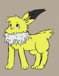 canine eeveelution feral fur hair jolteon male mammal nintendo paws plain_background pokémon skyffan smile solo video_games   Rating: Safe  Score: 0  User: Skyffan  Date: February 28, 2014
