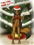 anthro barefoot christmas clothed clothing cub decorations female food gift_wrapped hi_res holidays loli mammal ribbons skimpy solo tanuki tanukiyasha tree yasha young  Rating: Questionable Score: 14 User: Tanukiyasha Date: December 25, 2014