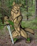 2002 anthro balls biceps black_nose brown_fur canine chest_tuft claws ear_piercing forest fully_sheathed fur green_eyes male mammal moonchild nature outside piercing pose sheath solo sword toe_claws tree tuft warrior weapon wolf   Rating: Explicit  Score: 8  User: slyroon  Date: March 28, 2015