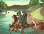 2017 anthro canine clothed clothing dog dragon duo_focus feral fish forest gloves_(marking) grey_hair group hair looking_down mammal marine markings outside pawpads pier rear_view ringed_tail sea seaside sepia_(artist) shirt shorts sitting smile tailwag tigon topless tree waterRating: SafeScore: 5User: imagooberDate: July 26, 2017