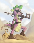 2013 anthro army bag balls belt boots clothing desert dog_tags dragon eyewear footwear friendship_is_magic gloves gun holding holding_weapon male my_little_pony nude outside penis penis_tip ranged_weapon rock scalie sheath sniper solo spike_(mlp) spikes spotty_the_cheetah sunglasses weapon  Rating: Explicit Score: 16 User: spotty_the_cheetah Date: February 13, 2013