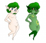 belly blue_eyes blush breasts fangs female green_hair hair imp looking_at_viewer navel nintendo pointy_ears red_eyes saria solo the_legend_of_zelda thick_thighs video_games wide_hips  Rating: Questionable Score: 3 User: Juni221 Date: August 05, 2015