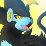 ambiguous_gender feline feral fur hi_res lonewolffl luxray mammal nintendo open_mouth pokémon pokémon_(species) simple_background smile solo teeth tongue video_games
