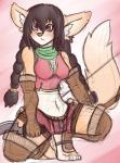 blade breasts canine clothing feet female hair knife mammal navel red_eyes scarf sebafox solo  Rating: Safe Score: 7 User: Dudeman147 Date: May 30, 2015""