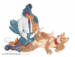 anthro avian balls bird blackberrypie blue_feathers canine cum cumshot duo erection falco_lombardi feathers fox fox_mccloud interspecies lying male male/male mammal nintendo orgasm penis sex star_fox starman_deluxe video_games  Rating: Explicit Score: 8 User: FalcoFox Date: September 19, 2011
