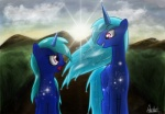 2011 aeronjvl blue_hair cloud duo equine eye_contact fan_character female grass hair horn mammal milky_way mountain my_little_pony open_mouth outside pink_eyes sky smile star sun winged_unicorn wings   Rating: Safe  Score: 4  User: Rainbow_Dash  Date: July 07, 2012