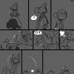 ! ? 1:1 angry blush bovid breath caprine cervid clothed clothing comic digital_drawing_(artwork) digital_media_(artwork) duo embarrassed eyes_closed female humiliation lying male mammal monochrome on_back on_side penis_shaming petting sheep slypon unimpressed