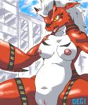 aliasing blush breasts chubby city degi digimon female growlmon hair nude open_mouth outside presenting pussy solo white_hair wide_hips yellow_eyes  Rating: Explicit Score: 15 User: sh4dowpik4chu Date: July 14, 2015