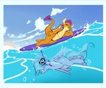anthro arm_support avian bikini clothing cloud dragon duo european_mythology female friendship_is_magic greek_mythology hand_on_hip hi_res hippogriff leaning_on_elbow lying my_little_pony mythological_avian mythology on_side one-night silverstream_(mlp) sky smolder_(mlp) spade_tail surfboard swimwear underwater vehicle water watercraft wide_hips
