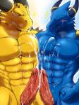 2014 abs animal_genitalia anthro arm_around_shoulders biceps big_muscles big_penis blue_body blue_dragon_(character) blue_dragon_(series) blue_skin blush claws clenched_teeth cum cum_on_chest cum_on_penis cum_on_stomach cumshot dragon drooling duo erection eyes_closed fangs fist front_view frottage genital_slit grin hands-free happy horn humanoid_penis jewelry male male/male manly messy muscles nude orgasm pecs penis pose ring rudolph_(blue_dragon) ryuukikeito saliva scales scalie sex sharp_claws sharp_teeth sheath slit smile spikes standing sweat teeth toned vein veiny_penis yellow_skin  Rating: Explicit Score: 16 User: WiiFitTrainer Date: July 16, 2014""