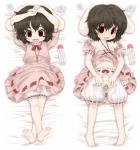 ahoge animal_ears bed black_hair bloomers blush bottle breasts clothing collar condom crotchless_panties dakimakura dress female flat_chested hair humanoid lagomorph loli looking_at_viewer lying mammal nipples on_back open_mouth panties pussy rabbit rabbit_ears red_eyes short_hair solo tewi_inaba tongue touhou underwear undressing unipo young   Rating: Explicit  Score: 16  User: Fluttershy  Date: March 23, 2014