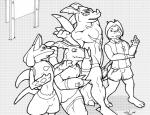 anthro black_and_white canine clothing comic digimon dragon dragoneer drakemohkami fur group guilmon inflation lucario male mammal monochrome nintendo pokémon scalie video_games  Rating: Questionable Score: 1 User: Husqi Date: July 07, 2015