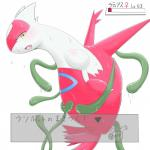 absurd_res aokabike blush dragon female feral half-closed_eyes hi_res japanese_text latias legendary_pokémon looking_at_viewer nintendo open_mouth pokémon scalie simple_background solo sweat text tongue video_games yellow_eyes  Rating: Questionable Score: 3 User: slyroon Date: February 01, 2016
