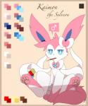 ambiguous_gender blue_eyes eeveelution feral hi_res kaimon_(km-15) km-15 nintendo pink_skin pocky pokémon pokémon_(species) simple_background solo sylveon text video_games white_skin