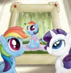 2014 big_eyes blanket blue_eyes canopy clothed clothing cub detailed_background digital_media_(artwork) equine female feral firefly friendship_is_magic grass hair hi_res horn horse light looking_up mammal mane multicolored_hair my_little_pony painting pegasus pink_eyes pony portrait rainbow_dash_(mlp) rarity_(mlp) reflection shadow smudge_proof surprise tree unicorn weeping_willow window wings young   Rating: Safe  Score: 5  User: Smudge_Proof  Date: December 15, 2014