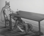 2015 abs all_fours animal_genitalia anthro bottle butt canine canine_penis chair claws cum cum_in_mouth cum_inside dog duo erection fellatio fur hair looking_down male male/male mammal monochrome necklace nude oral pawpads paws penis rukis saliva sex sitting table   Rating: Explicit  Score: 19  User: TheGreatWolfgang  Date: April 20, 2015