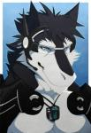 aluminemsiren anthro armor big_muscles black_fur black_hair blue_background blue_eyes clothed clothing discordnight dog_tags eyewear fur glasses goggles hair half-dressed headwear male microphone muscles pecs plain_background pose sergal smile solo toned topless white_fur   Rating: Safe  Score: 1  User: DiscordKnight  Date: April 01, 2015