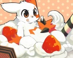 ambiguous_gender claws convenient_censorship food fur mumu nintendo orange_markings pokémon solo strawberry tongue tongue_out video_games whipped_cream white_fur zangoose   Rating: Safe  Score: 9  User: slyroon  Date: March 27, 2011