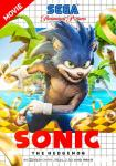 anthro bosslogic box_art close-up clothing detailed english_text eulipotyphlan featureless_crotch footwear fur gloves green_eyes handwear hedgehog hi_res male mammal movie_poster open_mouth outside palm_tree pecs quills raf_grassetti realistic ring running sea sega sega_genesis sharp_teeth shoes smile solo sonic_movie sonic_(series) sonic_the_hedgehog teeth text tongue tree video_games water
