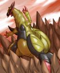 detailed_background dlrowdog dragon feral haxorus horn nintendo open_mouth outside pokémon pokémon_(species) red_eyes rock scalie sky video_games