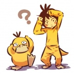 ? alternate_species avian beak bird brown_hair cosplay cute duck duo feral hair hitec human humanized looking_at_viewer male mammal nintendo pokémon pokémon_(species) psyduck short_hair video_games