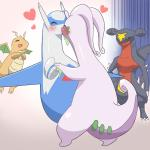 <3 ambiguous_gender antennae blue_feathers blush dragon dragonite eruku eyes_closed feathers feral garchomp gastropod goodra group happy jealous kissing latios legendary_pokémon nintendo open_mouth pokémon slug smile sweat teeth tongue video_games white_feathers  Rating: Safe Score: 5 User: DeltaFlame Date: April 22, 2016