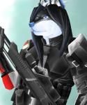 ambiguous_gender armor black_fur blue_eyes canine dar-kuu fur gun hair long_hair mammal mass_effect piercing ranged_weapon rifle sniper video_games weapon white_fur wolf  Rating: Safe Score: 0 User: Qitsune Date: September 13, 2015