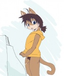 anthro cat feline looking_at_viewer male mammal peeing penis simple_background solo standing uncut urinal urine 蛸山葵つるべ  Rating: Explicit Score: 3 User: israfell Date: April 20, 2016