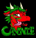 alpha_channel cannie dragon english_text green_eyes green_hair green_markings hair headshot_portrait horn male markings name_badge open_mouth portrait red_body scalie simple_background solo teeth text thejazzycat tongue tongue_out transparent_background
