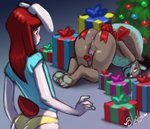 2016 accessory anthro anus arms_bound ass_up balls bleats blush bound butt christmas christmas_tree colored_sketch digital_media_(artwork) duo erection female genitals gift gift_wrapped girly hi_res holidays huggles kneeling lagomorph leporid looking_at_genitalia looking_at_penis looking_back male mammal mustela mustelid musteline penis penis_accessory penis_bow penis_ribbon penis_tuck person_as_gift person_present presenting presenting_hindquarters rabbit ribbons slave smile standing tree uniball