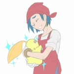 alpacapala ambiguous_gender apron bandanna blue_hair blush chikorita crying cute eyes_closed flora_fauna hair human mammal nintendo plain_background plant pokémon red_eyes shiny_pokémon size_difference smile tears teeth video_games   Rating: Safe  Score: 2  User: DeltaFlame  Date: April 25, 2015