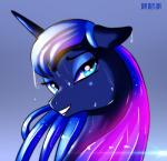 2014 blue_eyes blush equine female feral friendship_is_magic hair hi_res horn looking_at_viewer mammal moon my_little_pony necklace princess_luna_(mlp) shiny skyline19 smile solo sparkles wet wet_hair winged_unicorn wings  Rating: Safe Score: 14 User: Robinebra Date: October 22, 2014