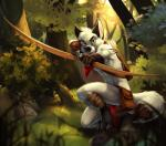 abs arrow biceps black_nose bow_(weapon) canine chibi-marrow claws clothing crouching forest fox fur gloves grass holding_weapon leg_wraps loincloth looking_at_viewer male mammal muscles outside pecs quiver ranged_weapon rock solo tattoo tree weapon white_fur yellow_eyes   Rating: Safe  Score: 21  User: Vallizo  Date: March 11, 2015