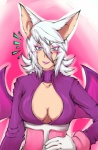 absurd_res antiiheld blush breasts cleavage clothed clothing female hair hi_res pink_background plain_background rouge_the_bat sega solo sonic_(series) white_hair wings   Rating: Questionable  Score: 1  User: Test-Subject_217601  Date: January 30, 2013