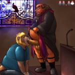 anthro balls bear beard bottomless church clothed clothing cross duo ear_piercing erection eyes_closed eyewear facial_hair fellatio glasses half-dressed humanoid_penis kneeling male male/male mammal markwulfgar open_mouth oral overweight penis piercing priest robes sex standing tongue uncut unprofessional_behavior  Rating: Explicit Score: 11 User: beartraps Date: January 05, 2015""