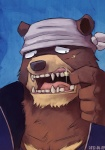 2012 anthro aru aru_(artist) bandanna bear brown_fur fangs fur gold_tooth grizzly_bear jacket kenji male mammal missing_tooth morenatsu open_mouth scar teeth tongue worried   Rating: Safe  Score: 3  User: PrinceRenart  Date: August 18, 2013