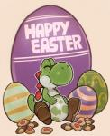 2016 clothing cookie dinosaur easter egg eyes_closed food footwear happy holidays male mario_bros nintendo scalie simple_background sitting smile solo spikes splashbrush video_games yoshi yoshi's_island  Rating: Safe Score: 5 User: Cαnε751 Date: March 27, 2016