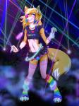 2015 anthro black_nose blonde_hair blush bulge canine clothed clothing crossdressing dancing furocity furryfm ghostblanketboy girly glowing glowstick hair jessica_wolf legwear long_hair looking_at_viewer male mammal miniskirt navel panties rave smile solo stockings underwear wolf   Rating: Questionable  Score: 23  User: JessicaWolf  Date: March 10, 2015