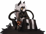 bag black_fur black_nose cat clothed clothing feline female fur hair hi_res liki mammal purse robe short_hair simple_background solo white_background white_hair yellow_eyes  Rating: Safe Score: 9 User: Eric_Dielli Date: October 06, 2010