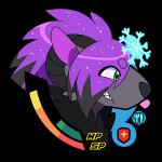 2015 alpha_channel ambiguous_gender anthro ażula_arktändr bioluminescence black_fur black_hair caprine fur glowing green_eyes grey_fur hair horn hybrid low_res mammal mythology nintendo norse_mythology pokémon pokémon_(species) purple_hair runes shiny_pokémon solo squareheart teeth video_games zoroark