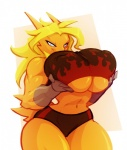 2015 anthro anthrofied avian big_breasts bigdad bird blaziken blue_eyes breasts chicken clothing fan_character fate_valentine female hair huge_breasts muscles muscular_female navel nintendo non-mammal_breasts pokémon pokémorph solo under_boob video_games wide_hips   Rating: Questionable  Score: 37  User: Robinebra  Date: April 22, 2015