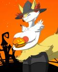 big_breasts braixen breasts female halloween holidays looking_at_viewer nintendo nipples pokémon pussy rheumatism smile solo video_games  Rating: Explicit Score: 13 User: snowblind Date: November 05, 2015