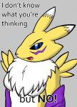 blue_eyes canine dialog digimon elbow_gloves english_text female fox gloves looking_at_viewer mammal mane open_mouth preemptive_no reaction_image renamon solo tedburgler text   Rating: Safe  Score: 5  User: NekoBot  Date: March 08, 2014