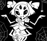 arachnid arthropod blush fangs female itimu looking_at_viewer monochrome muffet multi_limb multiple_eyes pigtails solo spider undertale video_games  Rating: Safe Score: 0 User: Nuji Date: February 09, 2016