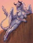 anthro bovine breasts caribou_(artist) cattle claws dragon fangs feathers female hooves horn hybrid looking_at_viewer mammal minotaur navel nipples nude pinup pose pussy scales scalie solo wings   Rating: Explicit  Score: 45  User: ippiki_ookami  Date: February 06, 2013