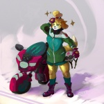2015 animal_crossing anthro bike blonde_hair canine clothed clothing footwear front_view fully_clothed fur gloves hair hand_on_head helmet isabelle_(animal_crossing) jacket legwear looking_at_viewer mammal mario_bros mario_kart motorcycle newd nintendo outside shoes simple_background socks solo standing video_games yellow_fur  Rating: Safe Score: 1 User: newd Date: July 28, 2015